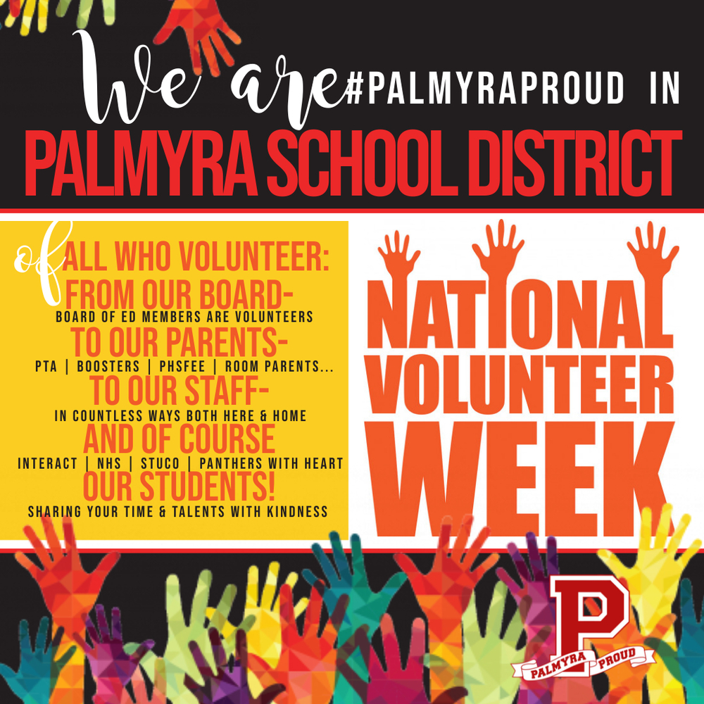 #PalmyraProud of Palmyra School District's Volunteerism