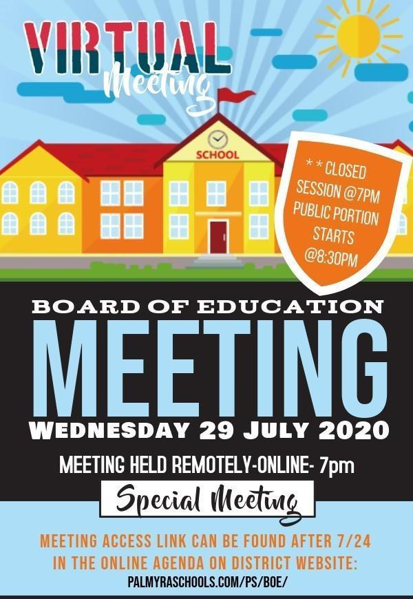Special BoE Meeting 7/29 ONline access